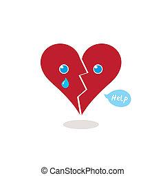 coração, chorando, caricatura, quebrada, ajuda, ilustração