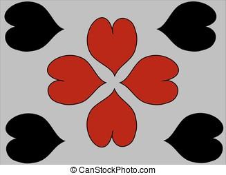 Coração, cinzento, pretas, fundo, Cartões, corações, vermelho