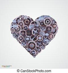 coração, cogwheel, feito, metal