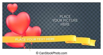 coração, colagem, quadro fotografia, quentes, ilustração, ar, forma, vetorial, balões