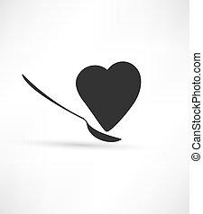 coração, colher, ícone