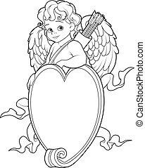 coração, coloração, sinal., sobre, cupid, forma, página