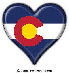 coração, colorado, botão, bandeira, forma, (usa, state)