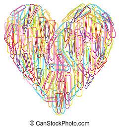 coração, coloridos, abstratos, isolado, clipes, vetorial, papel