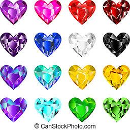 coração, coloridos, diamantes