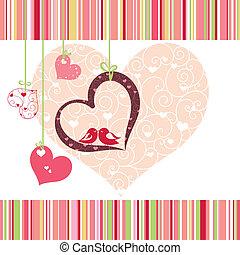 coração, coloridos, lovebirds, forma, desenho, cartão