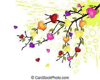coração, coloridos, ramo