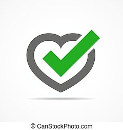coração, com, aprovado, cheque, mark., vetorial,...