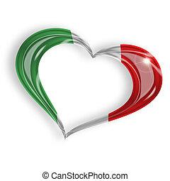 coração, com, bandeira italiana, cores, branco, fundo
