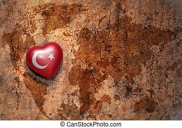 coração, com, bandeira nacional, de, peru, ligado, um, vindima, mapa mundial, fenda, papel, fundo