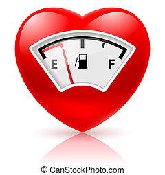 coração, com, combustível, indicador