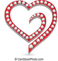 coração, com, diamantes, logotipo, vetorial