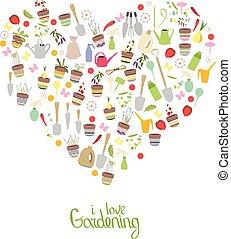coração, com, frase, i, amor, gardening., potenciômetros flor, e, legumes, isolado, branco, experiência., coração, feito, de, jardinagem, tools.