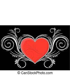 coração, com, ornamentos