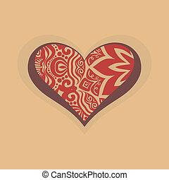 coração, com, projeto gráfico, decoração
