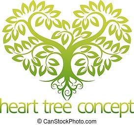 coração, conceito, árvore