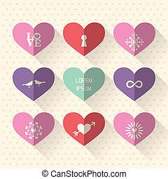 coração, conceito, amor, apartamento, símbolo, projeto fixo, casório, ícone