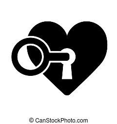 coração, conceito, amor, fechadura, valentine, key., dia