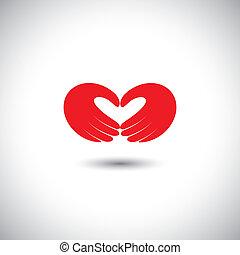 coração, conceito, amor, formando, símbolo, -, vetorial, mãos, par