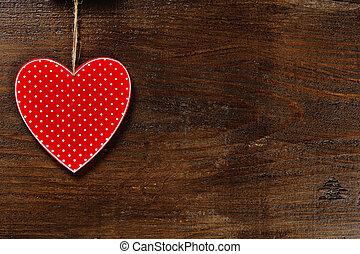 Coração, conceito, Amor, madeira,  -, fundo, vermelho
