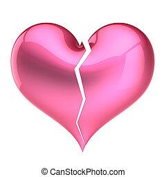 coração, conceito, amor, pink., quebrada, forma, outono, saída