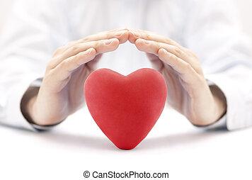 coração, conceito, amor, seguro, saúde, hands., coberto, ou, vermelho