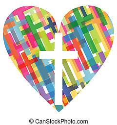 coração, conceito, cartaz, abstratos, crucifixos, ilustração, cristianismo, religião, vetorial, fundo, mosaico