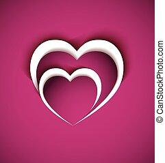 coração, conceito, dois, paper-love