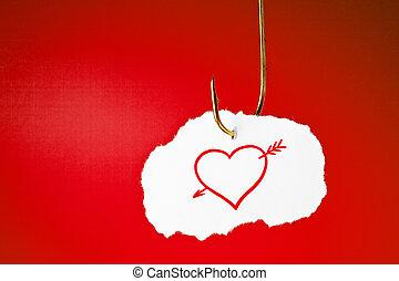 coração, conceito, enganchado, seta