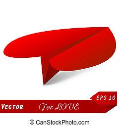 coração, conceito, escolha, avião., vetorial, origami, melhor