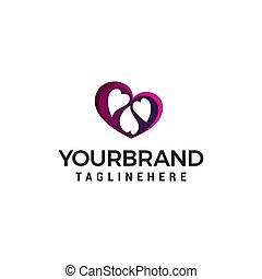 coração, conceito, família, vetorial, desenho, modelo, logotipo