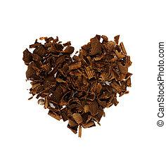 coração, conceito, forma, valentineçs, chocolate, tema, shavings., dia
