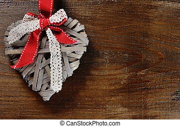 Coração, conceito, madeira,  -,  Valentine, fundo, Dia