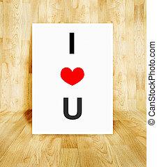 coração, conceito, palavra, cartaz, balloon, valentine, madeira, parquet, amor, quarto branco