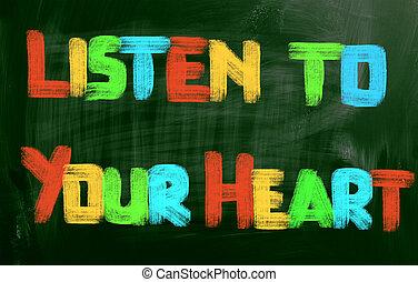 Coração, conceito, seu, escutar