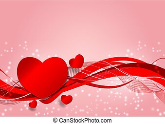 coração, conceito, valentine, espaço, ilustração, onda, fundo, forma, vetorial, cópia, dia, vermelho