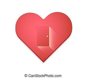 coração, concept., amor, maneira, desenho