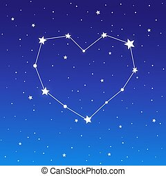 coração, constelação, ligado, céu estrelado