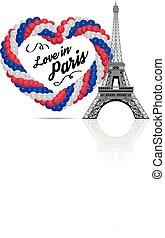 coração, cores, bandeira, frança, forma, balões