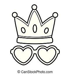 coração, coroa, óculos de sol, branca, pretas