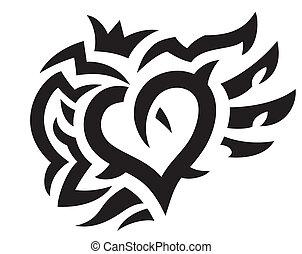 coração, coroa, asas, tatuagem