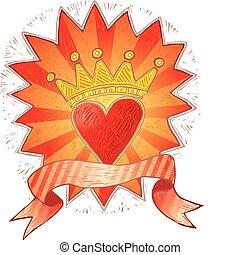 coração, coroado