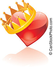 coração, coroado, vidro