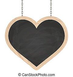 coração, correntes, signboard, penduradas