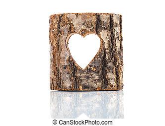 coração, corte, em, árvore oca, trunk., branco, fundo