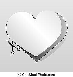 coração, corte, folha, dado forma, cupão, paper., anunciando, em branco, branca