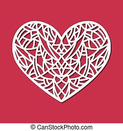 coração, corte, laser, padrão, abstratos, ornament.,...