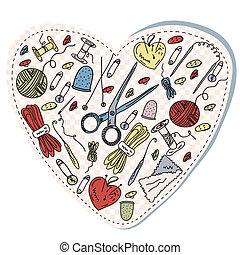 coração, cosendo, tricotando, caricatura, engraçado