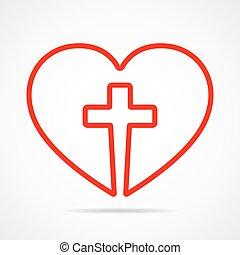 Coração, cristão, Ilustração, dentro, crucifixos, vetorial