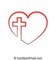 Coração, cristão, Ilustração, dentro, crucifixos